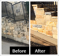 before after stone wall